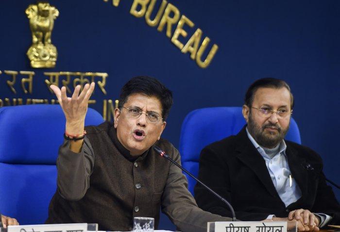 Union Railways Minister Piyush Goyal briefs the media on Cabinet meeting. (PTI Photo)