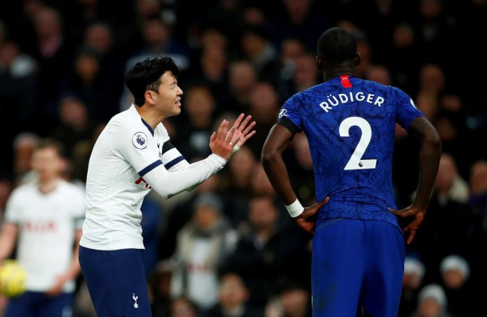 Tottenham Hotspur's Son Heung-min reacts after clashing with Chelsea's Antonio Rudiger. (Reuters photo)