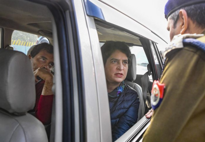 """""""The police did not allow us to meet the families of the deceased,"""" Rahul told reporters from inside his vehicle."""