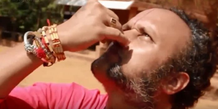 K S Badari Narayan gazes at the sun, while performing Pranayama.