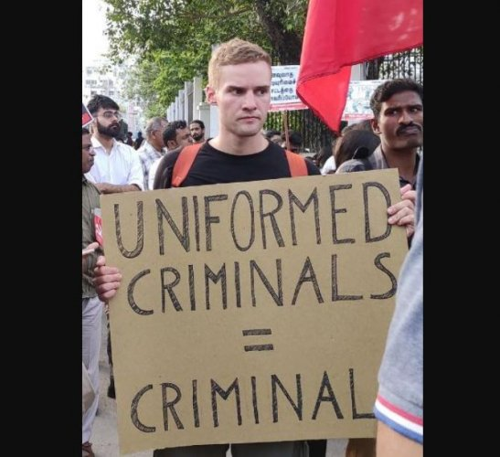 Pursuing M. Sc (Physics) at IIT-M since July 2019, Lindenthal is a student of the Technical University of Dresden and took part in protests against CAA inside the campus and in Valluvar Kottam last week. Pictures of him holding placards at the protests were widely shared in social media.