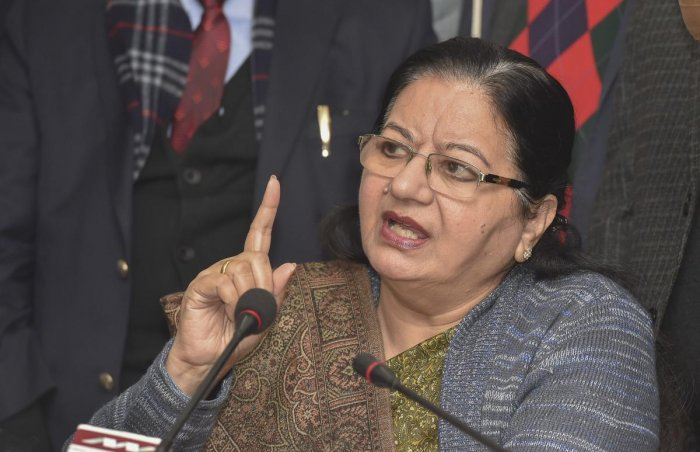 Jamia Millia Islamia Vice-Chancellor Najma Akhtar met Mohammad Minhajuddin and the father of Ajaz, a university student who was also injured in protests on the same day. Photo/PTI