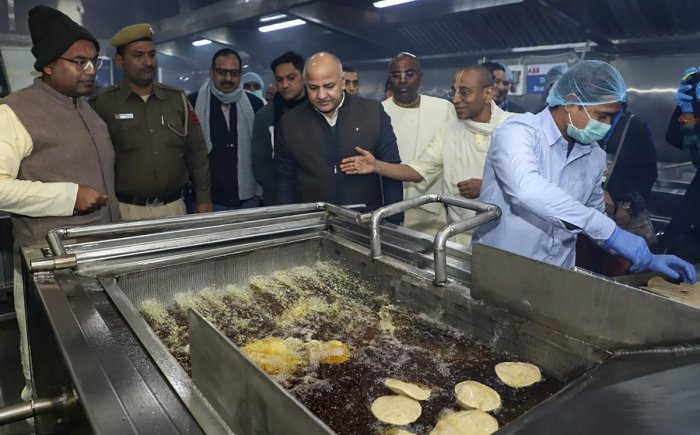 Deputy Chief Minister Manish Sisodia after inaugurating The Akshaya Patra Foundation's new centralised kitchen in Mohan Cooperative Industrial Area of New Delhi. PTI