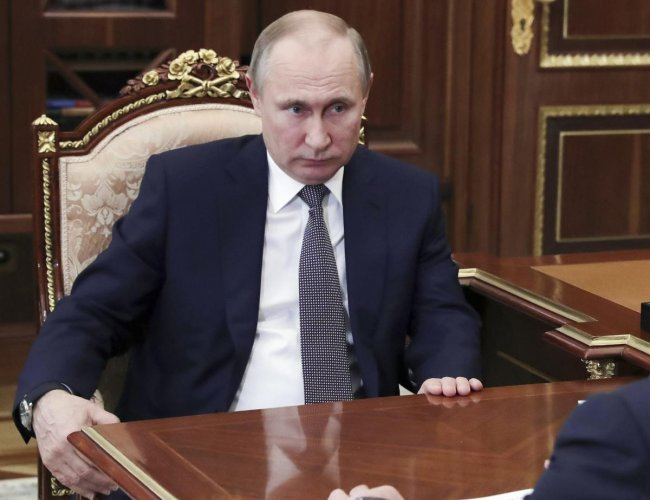 Speaking to military top brass and using bad language at one point, Putin said that Poland was in cahoots with Hitler during World War II. AP/PTI file photo
