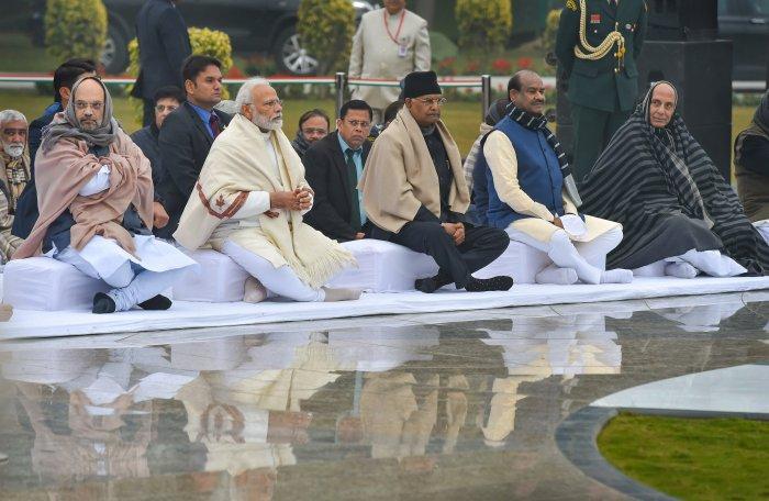 President Ram Nath Kovind (C), Prime Minister Narendra Modi, Union Ministers Amit Shah, Rajnath Singh and Lok Sabha speaker Om Birla attend prayer meeting at Sadaiv Atal, the memorial of former prime minister A B Vajpayee on his 95th birth anniversary, in New Delhi. (PTI Photo)