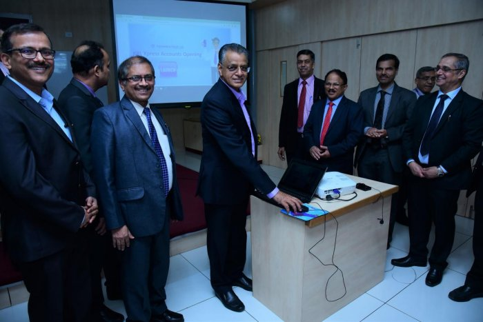 Mahabaleshwara M S, managing director and CEO, Karnataka Bank, launches 'KBL Xpress SB Accounts'.