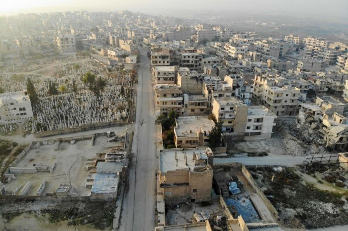A drone picture of the  town of Maaret Al-Numan in the northwestern Idlib province. Photo/AFP