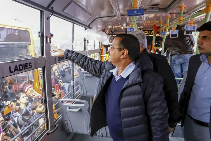 The buses are equipped with state-of-the-art features like hydraulic lifts for the differently-abled people, GPS trackers, panic buttons and CCTV cameras to ensure the safety of women. (PTI Photo)
