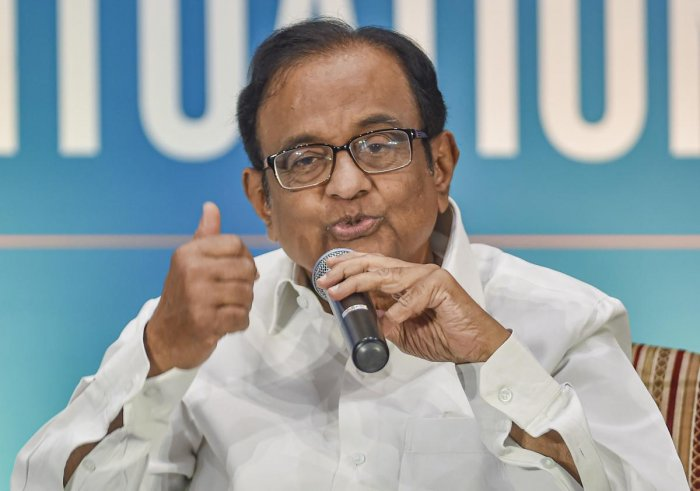 Former finance minister P. Chidambaram addressing an audience at Chennai. (PTI Photo)