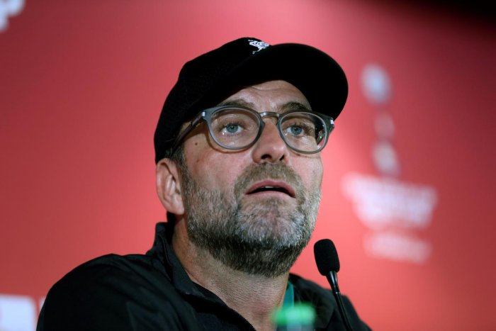 Liverpool's German manager Jurgen Klopp attends a press conference at the Khalifa International Stadium in the Qatari capital Doha on December 20, 2019. (AFP Photo)
