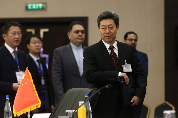 Chen Wenqing (R), Chinese Minister of State for Security, attends the meeting of national security secretaries of Iran, Russia, Uzbekistan, Tajikistan, Afghanistan, China and India, in the capital Tehran. (AFP Photo)