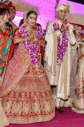 RJD chief Lalu Prasad's elder son Tej Pratap and Aishwarya Rai during their wedding ceremony in Patna. Tej Pratap Yadav filed for divorce from Aishwarya Rai. (PTI Photo)