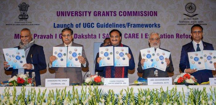 Union Minister for Human Resource Development Ramesh Pokhriyal 'Nishank' launches the UGC Guidelines/Frameworks