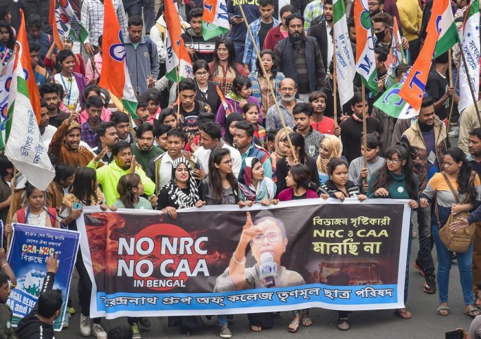 TMC activists during the party supremo and West Bengal Chief Minister Mamata Banerjee's protest rally against the amended Citizenship Act and NRC, in Kolkata