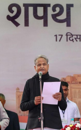 Ashok Gehlot taking oath as the Chief Minister of Rajasthan. (PTI Photo)