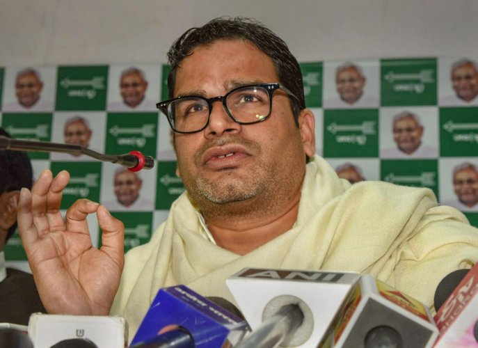 Election strategist and JDU leader Prashant Kishor addresses a press conference at his party office. (PTI Photo)