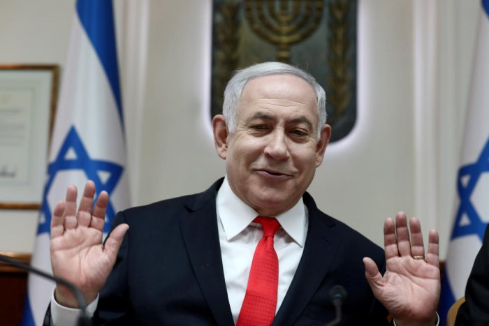 Israeli Prime Minister Benjamin Netanyahu gestures as he chairs the weekly cabinet meeting at his Jerusalem office December 15, 2019. (Reuters Photo)