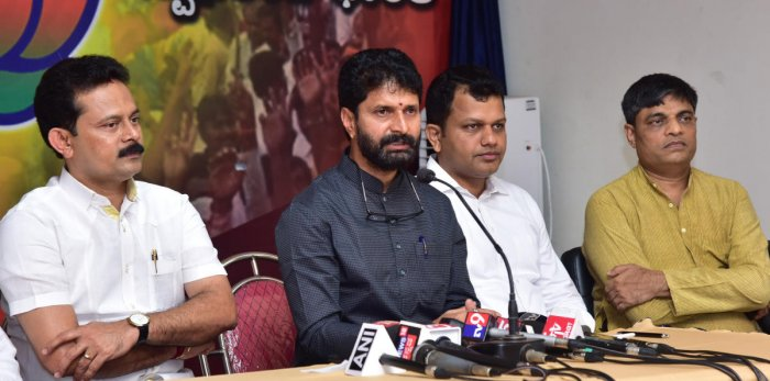 Tourism Minister CTRavi addresses a press meet at the BJP party office in Mangaluru on Thursday.
