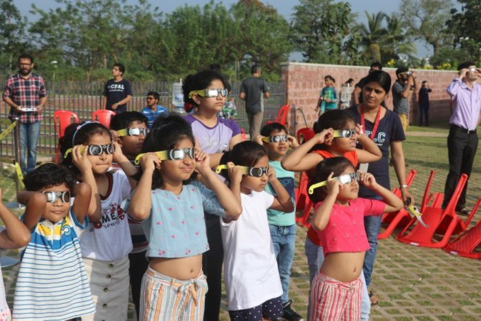 The annular solar eclipse witnessed a lot of people sidelining superstitious beliefs and celebrating the celestial occasion. (DH Photo)