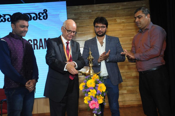Academy of General Education (AGE) President and MAHE Pro Chancellor Prof H S Ballal inaugurates career guidance programme organised at Dr T M A Pai auditorium in Kasturba Medical College in Manipal on Friday. Resource person Ananth Prabhu G (second from