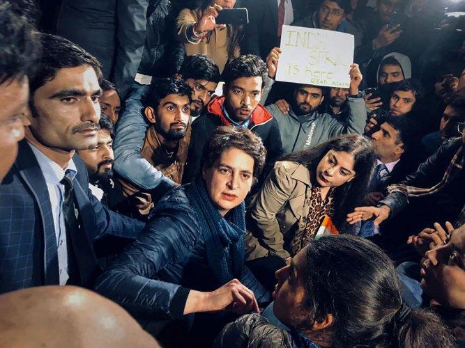 Priyanka Gandhi at an anti-CAA protest. PTI file photo