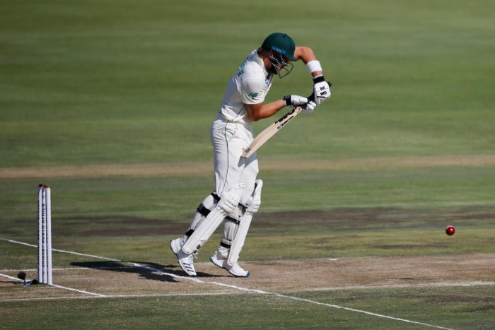 South Africa's Aiden Markram plays a shot during the second day of the first Test cricket match between South Africa and England. (AFP photo)