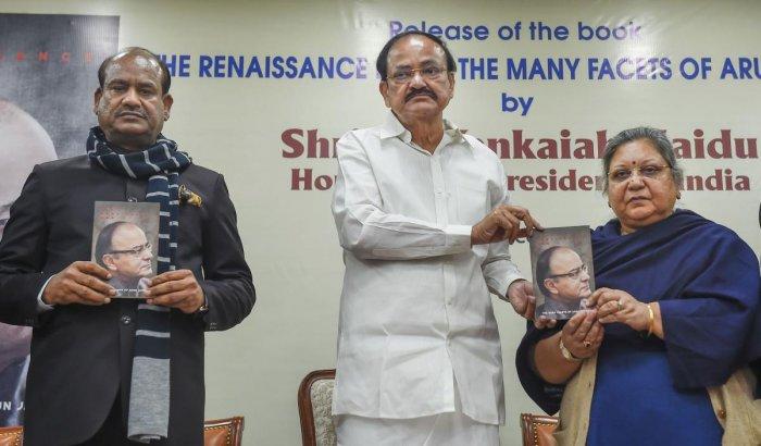 Vice President M. Venkaiah Naidu, Lok Sabha Speaker Om Birla and Arun Jaitley's wife Sangeeta Jaitley release a book 'The Renaissance Man- The Many Facets of Arun Jaitley' in New Delhi