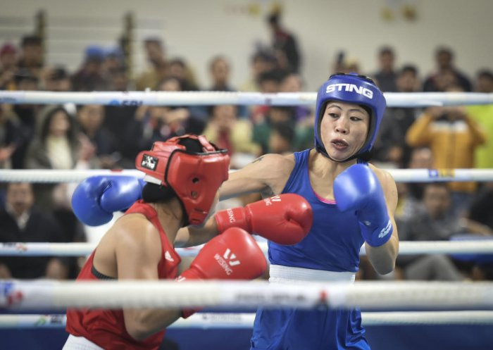 Boxer Mary Kom during her bout against Nikhat Zareen in the 51kg category finals of the women's boxing trials for Olympics 2020 qualifiers. (PTI photo)