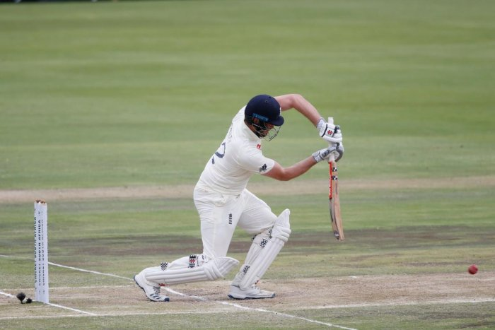 England's Dom Sibley watches the ball after playing a shot during the third day of the first Test cricket match between South Africa and England at The SuperSport Park stadium at Centurion near Pretoria