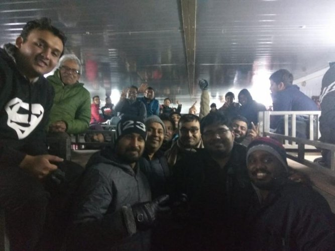 The tourists who were stranded at Nathu La. Photo: Twitter