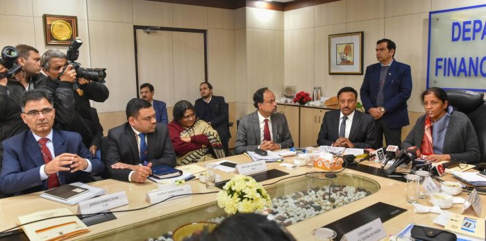 Union Finance Minister Nirmala Sitharaman during a review meeting with chief executive officers (CEOs) of public sector banks (PSBs) and CBI officials in New Delhi