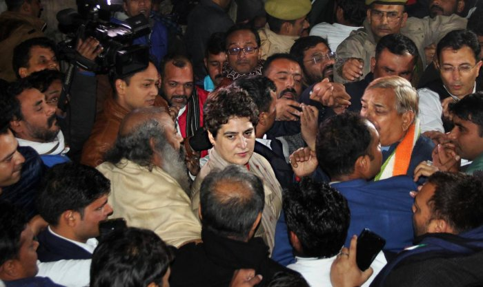 Congress general secretary Priyanka Gandhi Vadra after coming out of residence of ex IPS officer SR Darapuri in Lucknow. PTI