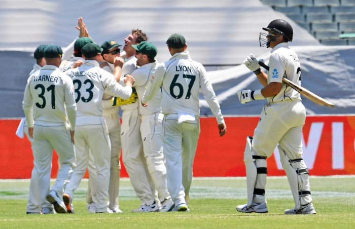 Australian paceman James Pattinson (C) celebrates with teammates after bowling New Zealand batsman Ross Taylor (R) on the fourth day of the second cricket Test match at the MCG in Melbourne. (AFP photo)