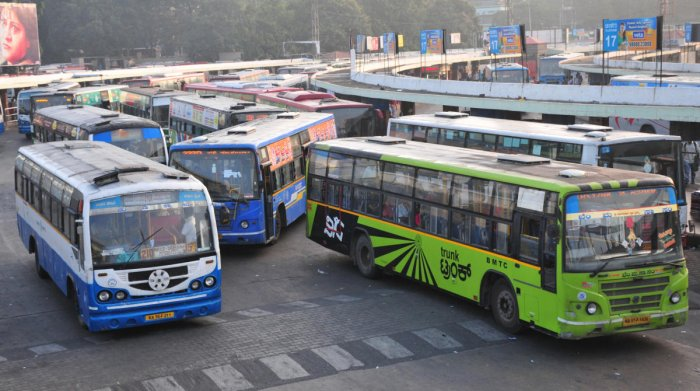 """""""All bus services from Kolhapur to Karnataka have been suspended since Saturday midnight as a precautionary measure,"""" a senior police official said. DH Photo"""