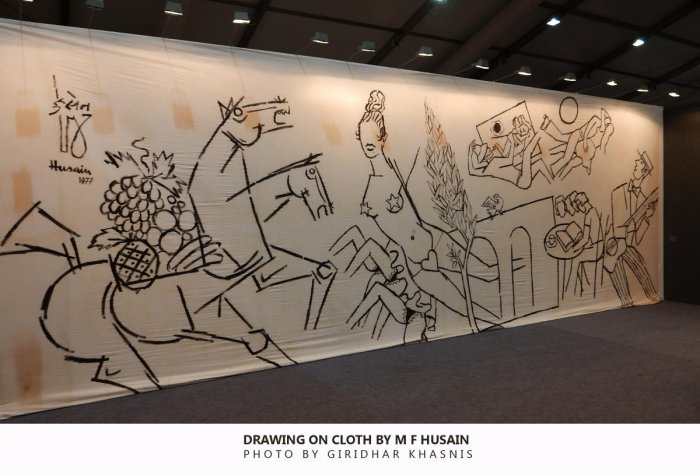 M F Hussain's painting on cloth displayed in 2015 at an exhibition.
