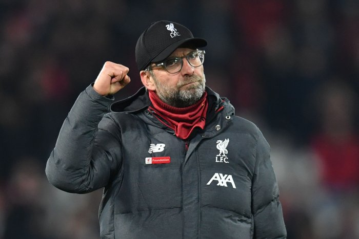 Liverpool's German manager Jurgen Klopp gestures at the end of the English Premier League football match between Liverpool and Wolverhampton Wanderers at Anfield in Liverpool. (AFP Photo)