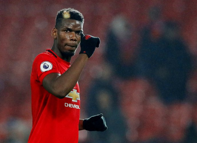 Manchester United's Paul Pogba acknowledges fans after the match. (Reuters Photo)