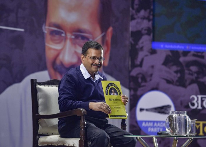 """""""I did not buy an airplane for myself... I waived the bus fare for our sisters. We have given free facilities to the people by saving on extravagant spending. We are providing 24 hours free electricity. Electricity bill of most people are coming out nil,"""" Delhi CM Kejriwal claimed. Photo/PTI"""