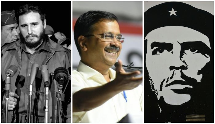 Fidel Castro(L), Arvind Kejriwal(C), Che Guevara(R) (Photos by Wikimedia Commons and Facebook)