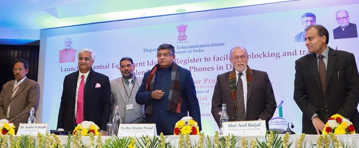 nion Minister for Communications, Law & Justice and Electronics & Information Technology Ravi Shankar Prasad launches the Central Equipment Identity Register System to facilitate tracing of stolen/lost mobile phones, in New Delhi. PTI