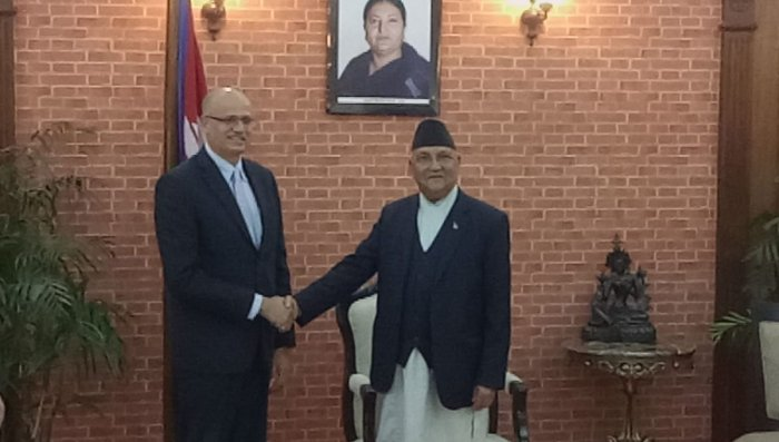Foreign Secretary Vijay Gokhale called on Prime Minister K P Sharma Oli in Kathmandu in March and held talks on a wide range of issues, including railways and waterway projects, with the top Nepali leadership. Photo/Twitter (@@IndiaInNepal)