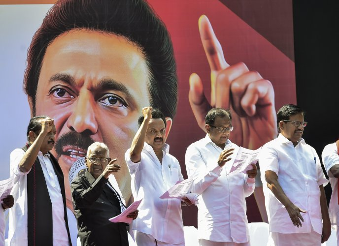 DMK president MK Stalin along with leaders of allies, including senior Congress leader P Chidambaram, MDMK chief Vaiko and state unit leaders of the Left parties take part in a protest rally against the Citizenship (Amendment) Act (CAA), in Chennai. (PTI Photo)