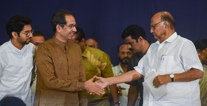 NCP President Sharad Pawar and Shiv Sena Chief Uddhav Thackeray. (PTI Photo)