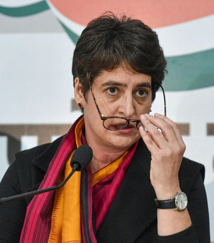 AICC general secretary Priyanka Gandhi Vadra at a press conference at the party office in Lucknow