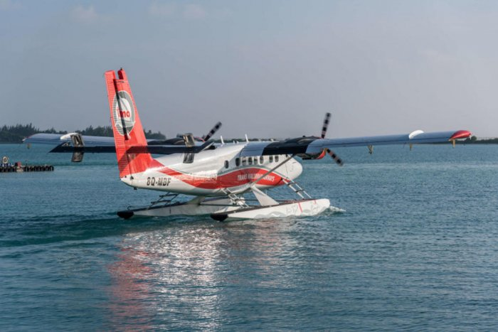 A seaplane begins to taxi towards the take-off area at the Seaplane Terminal at Male International Airport, Maldives. (Getty images)