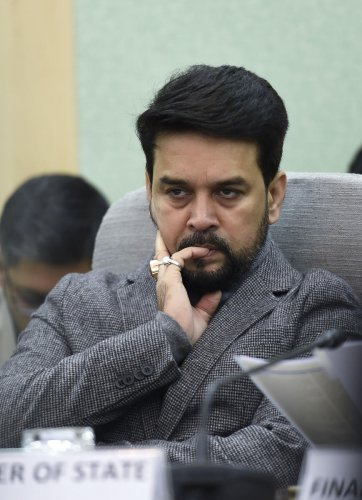 MoS for Finance Anurag Thakur during the first pre-Budget consultation with financial sector and capital market representatives, in New Delhi. (PTI Photo)