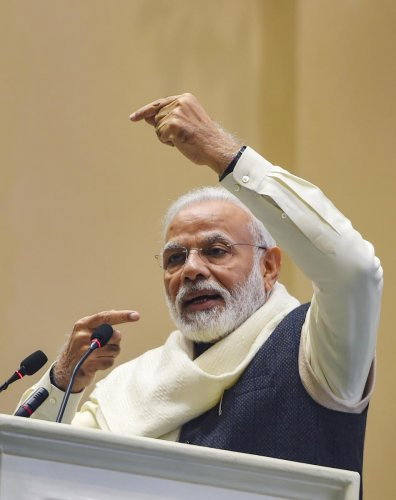 Prime Minister Narendra Modi addresses during the launch of the Atal Bhujal Yojana, a mission to help in supplying water to every house-hold by 2024, at a function in New Delhi, Wednesday, Dec. 25, 2019. (PTI Photo)