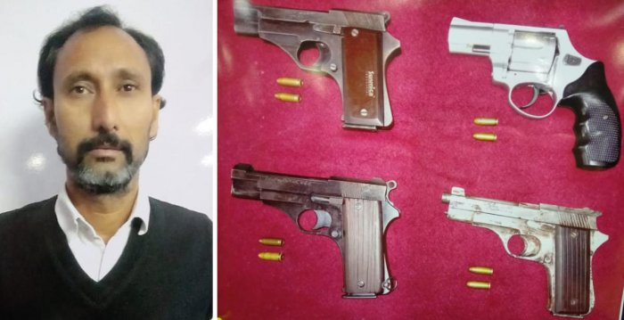 Aslam Guttal, the prime suspect, and the seized weapons. SPECIAL ARRANGEMENT
