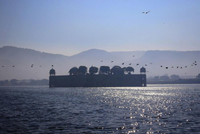 A view of the Jal Mahal during a cold winter morning in Jaipur. PTI