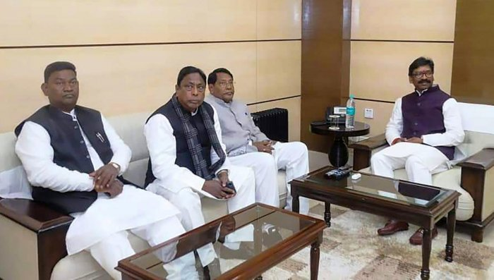 Jharkhand Chief Minister Hemant Soren meets his ministers Alamgir Alam, Rameshwar Oraon, Satyanand Bhokta during their first cabinet meeting at State Secretariat. PTI